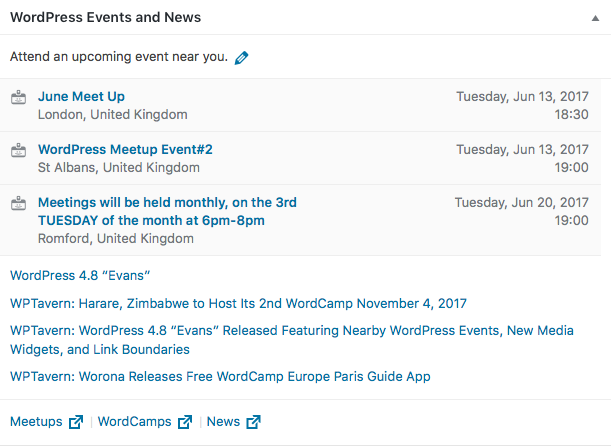 Wordpress 4.8 - Nearby Events